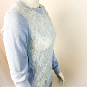 FOREVER 21 Crewneck Sheer Lace Front Sweater
